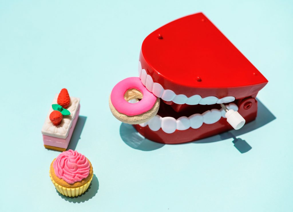 Artificial teeth holding donut