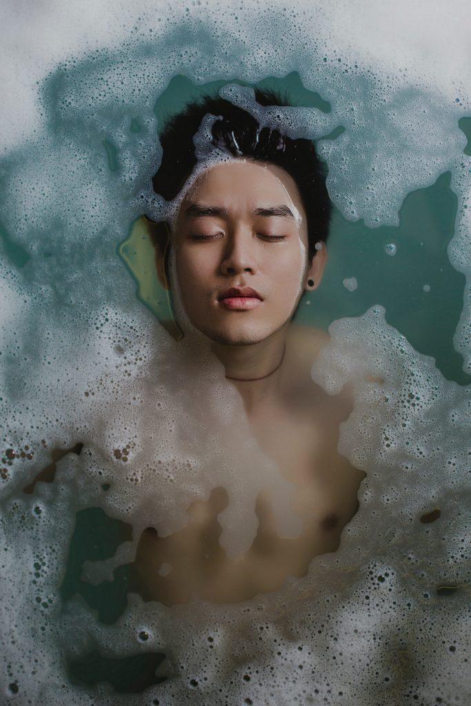 soaking in a tub