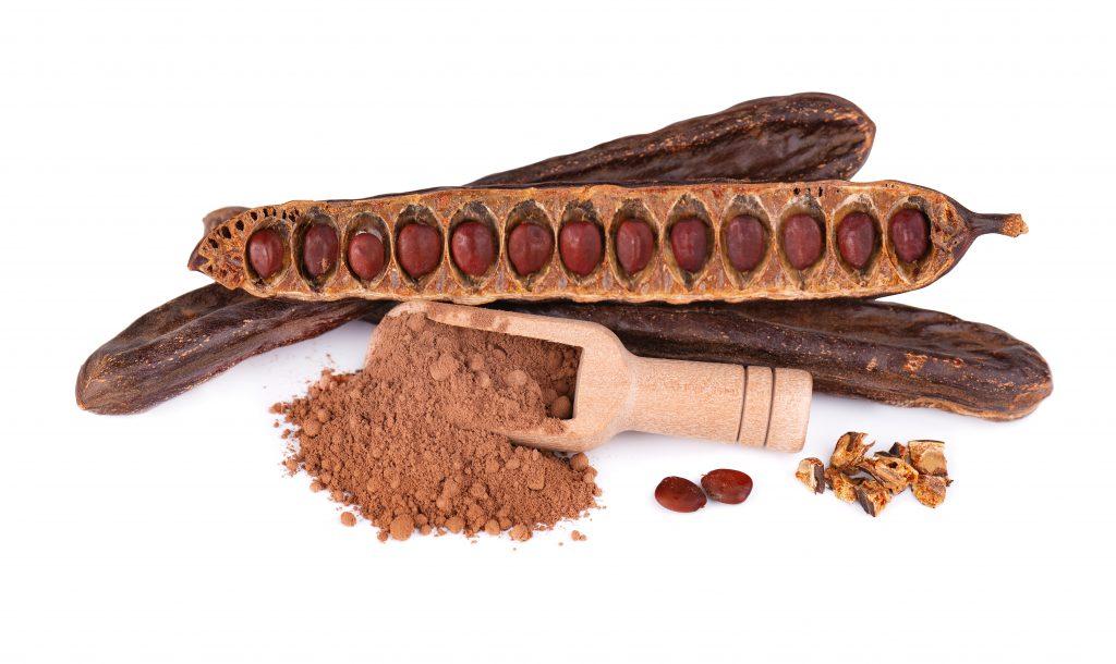 Ripe carob pods, carob chocolate, carob tree for cocoa beans,carob contains little fat, carob tree fruit, benefits of carob tree desserts