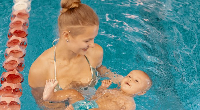 swimming with baby